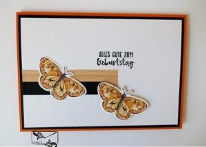 ♡ Geburtstagskarte ♡ mit orangenen Schmetterlingen & Grusstext Handgefertigt mit Stampin'Up!   - Handarbeit kaufen