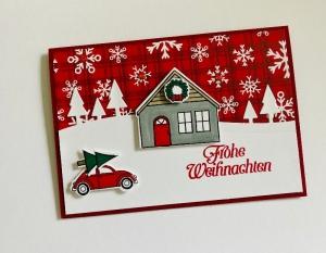 ★Weihnachtskarte★ mit Winterlandschaft, gefertigt aus Stampin up Farbkarton Handarbeit - Handarbeit kaufen