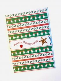 Weihnachtskarte mit Glocken, Mistelzweigen,Stern gefertigt aus Stampin up Farbkarton Handarbeit - Handarbeit kaufen