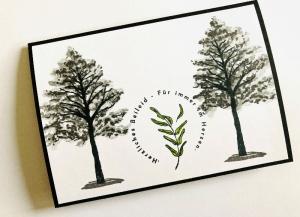 Beileidskarte Kondolenzkarte Trauerkarte mit Grusstext Handgefertigt in Schwarz-Weiß-Grau-Grün - Handarbeit kaufen