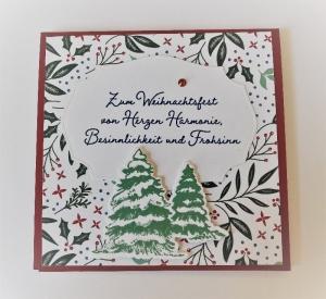 Weihnachtskarte Geldkarte Gutscheinkarte - Rot/Grün Handarbeit Stampin Up - Handarbeit kaufen