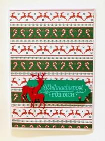 ★ Weihnachtskarte ★ mit Zuckerstangen & Rehen Handarbeit  in Rot/Grün/Weiß - Handarbeit kaufen