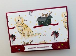 ☆ Weihnachtskarte ☆ mit Hund, Katze, Maus ☆ Grusskarte ☆Handarbeit ☆Stampin up Produkte☆ - Handarbeit kaufen