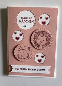 Glückwunschkarte zur Geburt/Taufe, Rosa/Pink, Handarbeit , Mädchen, Stampin'Up!   - Handarbeit kaufen