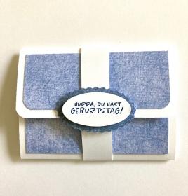Geldkarte Gutscheinkarte - Geburtstagskarte Handarbeit   Blau-Weiß - Handarbeit kaufen