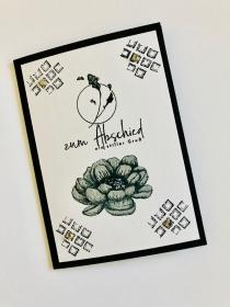 Beileidskarte Kondolenzkarte Trauerkarte mit Grusstext Handgefertigt in Schwarz-Weiß-Grau - Handarbeit kaufen
