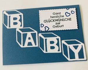 Glückwunschkarte zur Geburt , Blau/Weiß, Handarbeit , Junge, ©Stampin'Up!  - Handarbeit kaufen