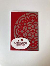 ☆ Weihnachtskarte ☆ mit festlichem Glanz in Silber ☆ Grusskarte ☆Handarbeit ☆in Rot/Silber/Weiß - Handarbeit kaufen