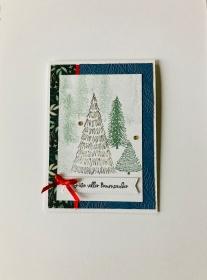 ★ Weihnachtskarte ★ mit Tannen Handarbeit Stampin'Up!  - Handarbeit kaufen