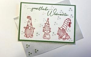 Weihnachtskarte mit Wichteln, aus Stampin Up Farbkarton (Grün-Weiß)  Handgefertigt  - Handarbeit kaufen