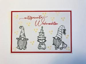 Weihnachtskarte mit Wichteln, aus Stampin Up Farbkarton (Rot-Weiß-Gold)  Handgefertigt  - Handarbeit kaufen