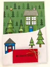 ★Weihnachtskarte★ mit Winterlandschaft, gefertigt aus Stampin up Farbkarton in Handarbeit  - Handarbeit kaufen