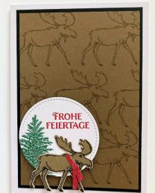 Weihnachtskarte mit Rentieren ☆ aus Karton gebastelt Stampin up ☆Braun/Schwarz/Weiß - Handarbeit kaufen