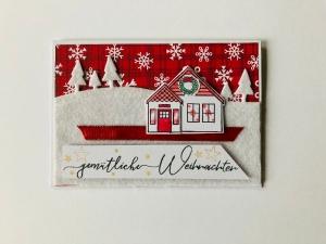 ★Weihnachtskarte★ mit Schneelandschaft, gefertigt aus Stampin up Farbkarton in Handarbeit   - Handarbeit kaufen