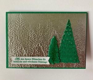 Weihnachtskarte mit Tannen handgefertigt aus Stampin up Karton in Silber/Grüntönen  - Handarbeit kaufen