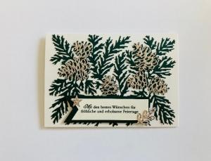 ☆Gold Glitzernde Weihnachtskarte ☆ in Grün/Gold/Vanille Stampin up Handarbeit  - Handarbeit kaufen