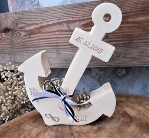 Hochzeit Ringkissen Ringhalter Holz Anker für Eheringe mit Namen - Handarbeit kaufen