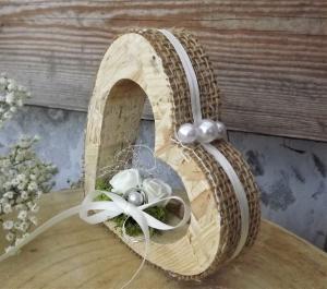 Ringkissen Ringhalter Jute Herz stehend für Eheringe Hochzeit Liebe aus Holz - Handarbeit kaufen