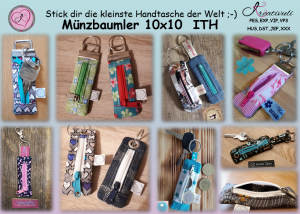 Stickdatei *Münzbaumler* key fob ITH Schlüsselanhänger mit Reißverschluss 10x10 oder *die kleinste Handtasche der Welt*
