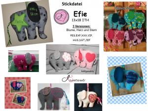 Stickdatei * Efie * 13x18 Elefant ITH Kuscheltier 3 Versionen