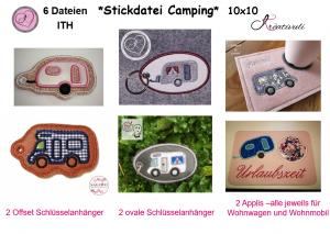 Stickdatei * Camping *  Set  10x10   ITH   Anhänger & Applikationen  6- teilig  - Handarbeit kaufen