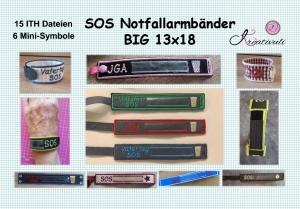Stickdatei *SOS -Big-Armband*  15x ITH  *JGA,Volksfest,Vatertag,Festival,Wiesn* +alle Minis einzeln 13x18 - Handarbeit kaufen