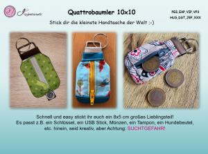 Stickdatei *Quattrobaumler* key fob ITH Schlüsselanhänger mit Reißverschluss 10x10 oder *die kleinste Handtasche der Welt*