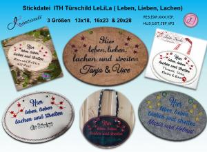 Stickdatei   *Türschild Leben, Lieben, Lachen*  13x18 -16x23 - 20x28 - Handarbeit kaufen