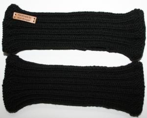 handgestrickte Handstulpen aus 100% Merionoschurwolle schwarz unisex - Handarbeit kaufen