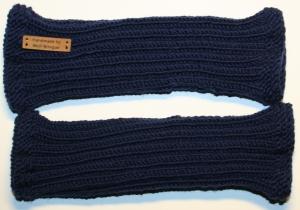 handgestrickte Handstulpen aus 100% Merionoschurwolle marineblau unisex  - Handarbeit kaufen