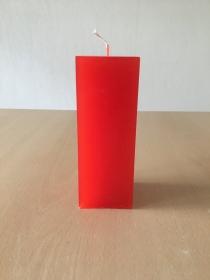 selbst gemachte Paraffinwachs Quadrat  Kerze Rot  - Handarbeit kaufen