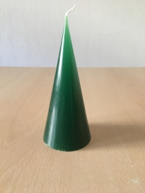selbst gemachte Paraffinwachs Kegel  Kerze Grün  - Handarbeit kaufen
