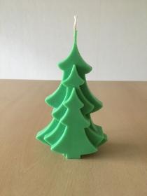 selbst gemachte Rapswachs Tannenbaum Kerze Grün  - Handarbeit kaufen