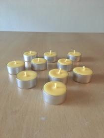 Selbst gemachte Rapswachs Teelichter  Gelb Aluhülle Durchmesser 38mm und 18mm Höhe - Handarbeit kaufen