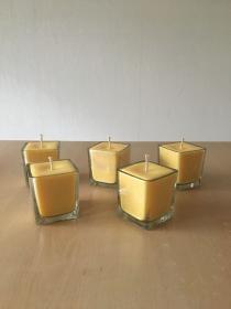 Selbst gemachte Rapswachs Würfelglas  Kerze Gelb  - Handarbeit kaufen