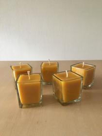 Selbst  gemachte  Bienenwachs  Würfelglas  Kerze   - Handarbeit kaufen