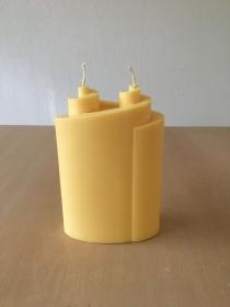 Selbst gemachte Rapswachs Doppelspiral Kerze Gelb - Handarbeit kaufen