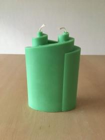 Selbst gemachte Rapswachs Doppelspiral Kerze Grün