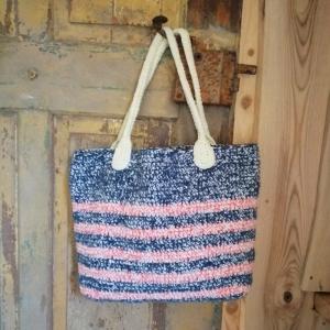 Tasche Badetasche Markttasche Shopper im Streifendesign gehäkelt - Handarbeit kaufen