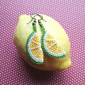 Ohrringe Limetten aus Baumwolle sehr fein handgehäkelt - Handarbeit kaufen