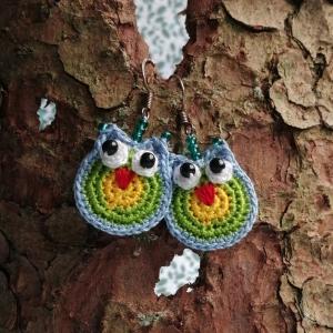 Huhuuu! Ohrringe Eulen mit Glasperlen sehr fein aus Baumwolle handgehäkelt