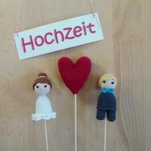 Hochzeit Wedding Hochzeitspaar Brautpaar und Herz Tortenaufsatz Cake Topper Tortenfiguren gehäkelt