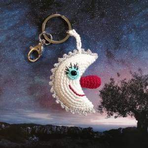 Schlüsselanhänger Taschenbaumler Mond aus Baumwolle handgehäkelt mit Silber-Glitzer und Karabiner - Handarbeit kaufen