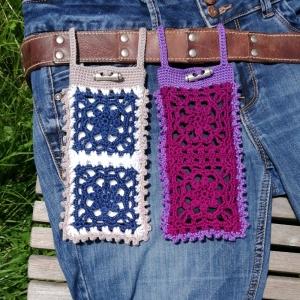 Gürteltasche Handyhülle Handytasche aus Blumen-Grannys mit Baumwolle handgehäkelt - Handarbeit kaufen