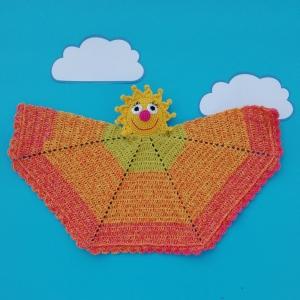 Fröhliche Sonne als Kuscheltuch Amigurumi handgehäkelt - Handarbeit kaufen