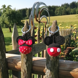 Schlüsselanhänger Taschenbaumler Herr und Frau Maus aus Baumwolle gehäkelt mit Karabiner - Handarbeit kaufen