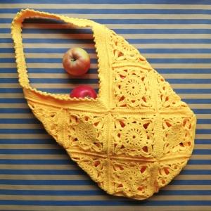 Grannysquare-Häkeltasche Markttasche in Knallgelb