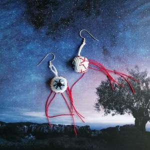 Ohrringe Auge Glupschauge Augapfel passend für Halloween gehäkelt  - Handarbeit kaufen