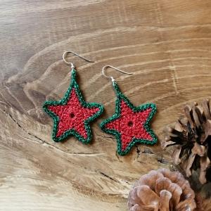 Ohrringe Stern Weihnachtsstern Star Weihnachtsschmuck passend für die Adventszeit gehäkelt - Handarbeit kaufen