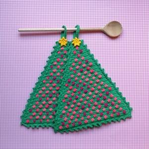 Zweier-Set Topflappen Weihnachtsbaum Christbaum mit Kugeln und Stern aus Baumwolle gehäkelt - Handarbeit kaufen